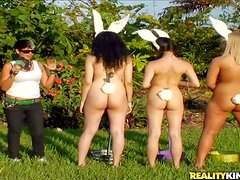 These amateyr bunny girls are totally naked and do wild