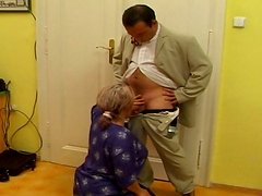 Ugly obese and old cleaner Femke C sucks a strong dick for sticky cum