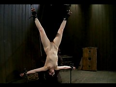Broad Is Tied Upside Down & Toyed with in BDSM Clip