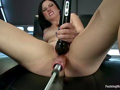 Veruca James gets double penetrated by a fucking machine