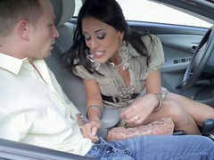 Scorching brunette Lyla Storm gives head right in the car