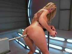 Simone Sonay enjoys playing with a fucking machine indoors