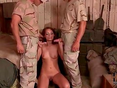 Sucking army men dicks and getting fucked