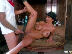 Dirty and arousing busty dark haired cowgirl Jewels Jade enjoys