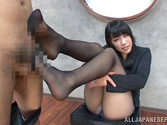 Hot Yuri Sato gives a footjob in hot CFNM video
