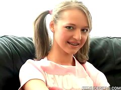 British teen in pigtails and braces strips solo