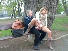 Dirty-minded bitch Kristyna seduces a gaffer to have sex on the park bench