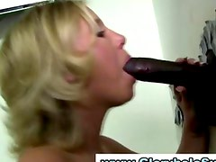 Dirty slut sucks big black gloryhole cock