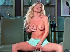 Blonde in baby blue lingerie teases her hot body