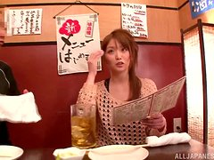 Titjob and blowjob from a naughty Japanese waitress