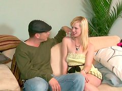 Foxy blond babe gives a deepthroat blowjob to oversized penis