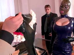 Latex mask and dress on big titty slut he fucks
