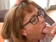 Housewife in glasses sucking and fucking cock