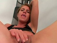 Voracious for orgasm sporty Kristyna wanks and wins a chance to ride a dick