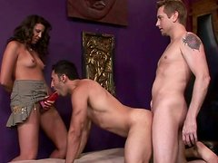 Tanned black head has a weird threesome and polish the dude's ass with a dildo