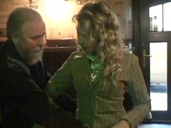 Curly blondie Kristyna provides a lucky gaffer with a handjob in the cafe