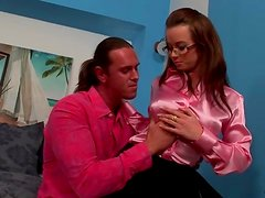 Big tits are so sexy in a pink satin blouse