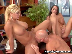 Cock hungry bombshells Carmella Bing and Shyla Stylez with enormous