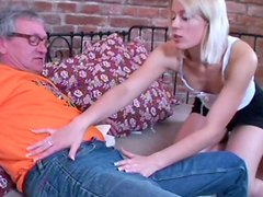 Too kinky and hot blondie Sandra unzips gaffer's pants and sucks his dick