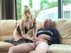 Messy red-haired slut gets her stinky shaved cunt tongue fucked by horny daddy
