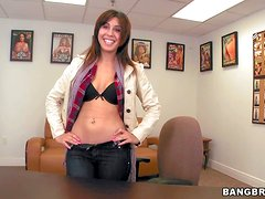 Natalie Nunez is a smiley brown haired sexy newbie that