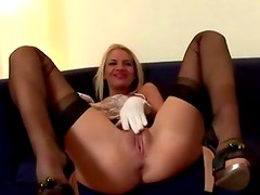 Tall lesbians in heels get thrusting with a big dildo