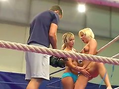 Young furious blonde teens Kelly Cat and Lisa with slim sexy bodies and natural boobs