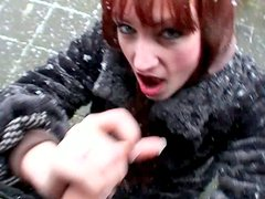 Street slut Sofia is ready to suck in spite of the snow flurry