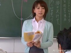 Saki Ninomiya gets fondled and fucked by a few men in a classroom