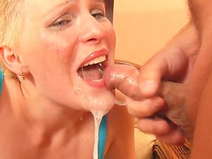 Short-Haired Blonde Girl Getting Throat Fucked and Having Sex for Jizz