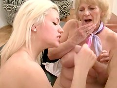 Blond gal is drilled in her asshole fucking in a dirty threesome