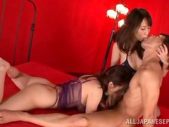 Two gorgeous Japanese chicks share a hard prick and moan with pleasure