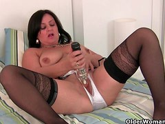 Mature mom masturbates in stockings and crotchless panties