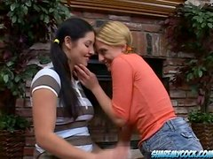 Denice K and Emma Cummings milk a dick dry into their mouths