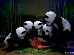 Sexy brunette babe gets gangbanged by panda mascots