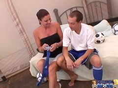 Vanessa Videl plays with a cock before taking it in her hairy vag