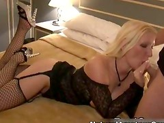 Horny blonde whore sucking