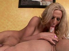 Blonde shemale slut is banged brutally in various positions