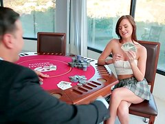 Hot Jayden Taylors loses the poker game and gets her pussy licked
