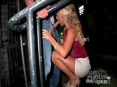 Blonde in slutty skirt and top is great for public sex