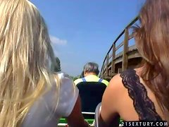 Peaches and her horny blonde friend enjoy in their hot