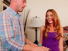 Cum addicted redhead Marie McCray enjoys plugging a stiff dick into her mouth