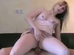 Slender blond milf rides strain dick with gaped asshole in reverse cowgirl style