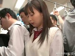 Japanese hottie gets her pussy drilled from behind in a bus