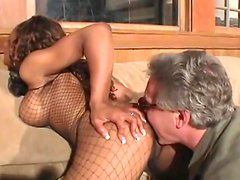 hot ebony rides on the old man's cock