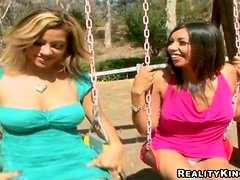 Blond and brunette Latinas are swinging from cock to cock