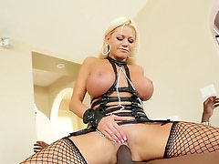 Tight blonde Lexington Steele is having wild fuck and suck
