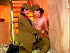 Two military girls suck each others nipples