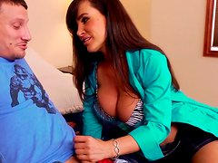 Mesmerizing busty brunette Lisa Ann wins a stiff hot dick for a blowjob