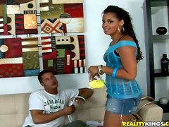 Lani Love is a slender Latina siren that loves it big